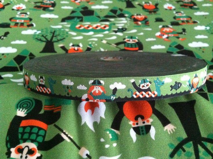 Webband - Webband lillestoff Wikinger grün DIY Lille Stoff - ein Designerstück von Emilias-Stoffwelt bei DaWanda
