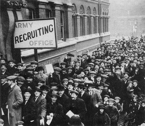 Englishmen line up outside an Army recruiting office to join the British Army once war was declared, 1914
