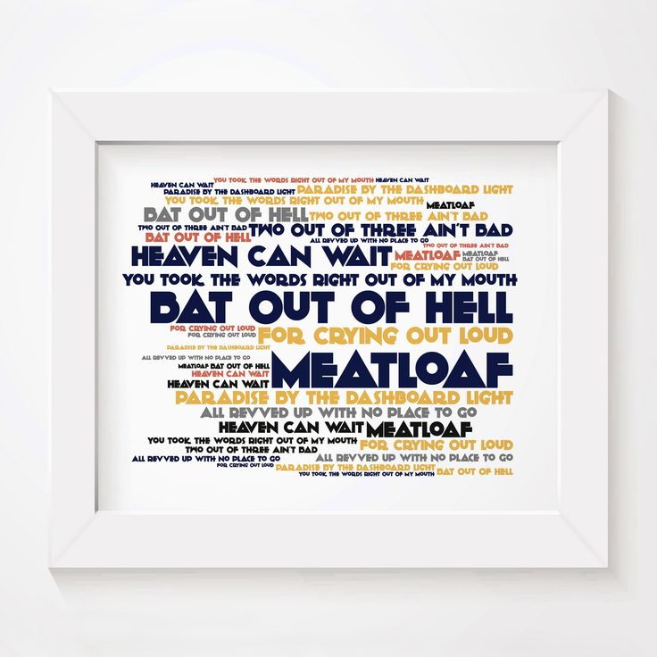 Best 25 meatloaf albums ideas on pinterest meatloaf songs meatloaf bat out of hell limited edition typography lyrics art print signed and numbered album fandeluxe PDF