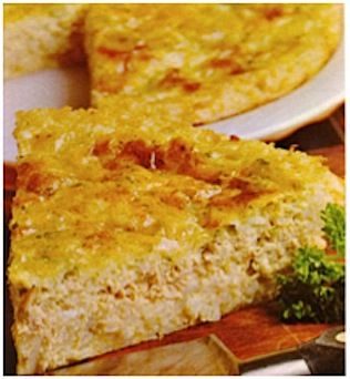 RECIPES: Sweet & Savory Impossible Pies--Salmon or tuna. Mix everything together then bake, it forms it's own crust. :)