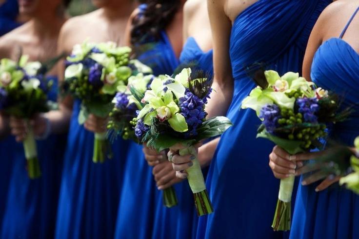 Peacock bouquet. Bill Levkoff Horizon blue.