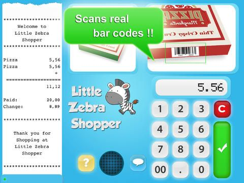 """Little Zebra Shopper is a free to download app that is great app for enhancing your child's game of playing """"shop"""".  It uses physical products you print out and is great for inspiring imaginative play and working on money counting skills. Highly recommended !"""