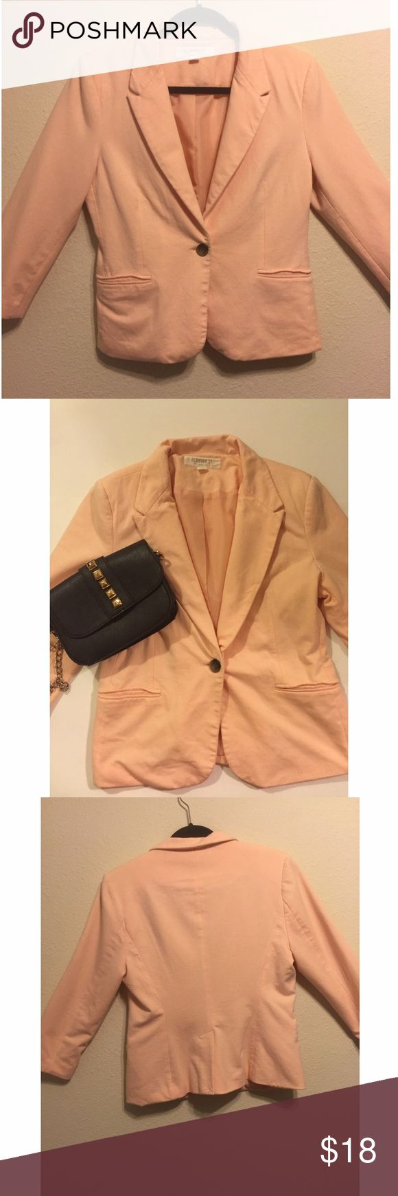 Light pink forever 21 blazer Super cute and fun light pink blazer size Large from Forever 21. One button and will pair well with a black outfit for work **please ask  any question and feel free to make me an offer** HAPPY POSHING 💕💁🏽💕💁🏽 Forever 21 Jackets & Coats Blazers