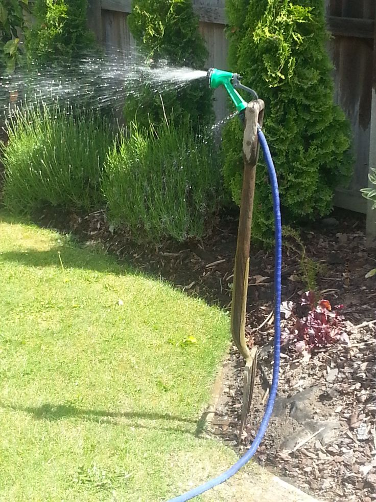 Don't have a sprinkler? Put your garden fork in the ground and pop your hose through the handle - perfect sprinkler!