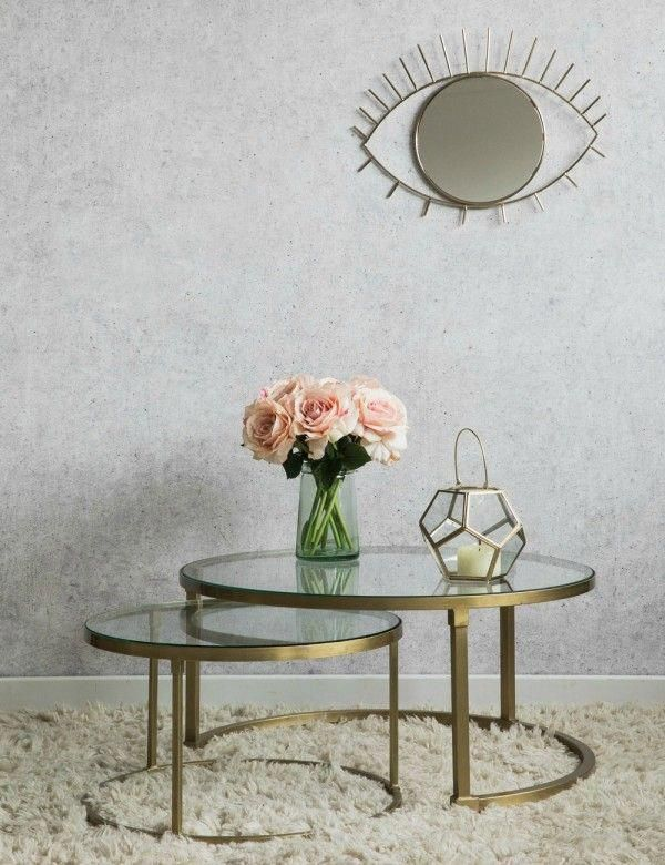 Coco Nesting Round Glass Coffee Tables Rose And Gray