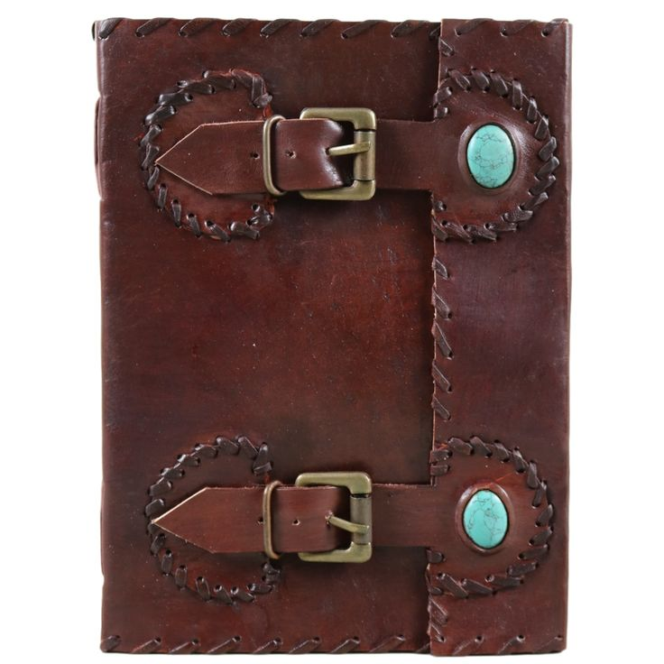 Turquoise Stone Double Belt Leather Journal