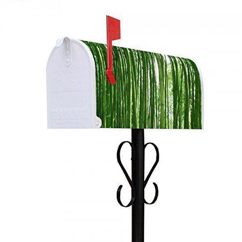 banjado - Amerikanischer Briefkasten US Mailbox 17x22x51cm mit Motiv und Ständer Bambus