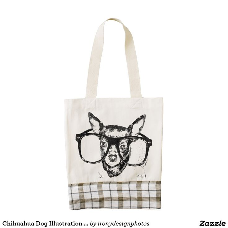 Chihuahua Dog Illustration Drawing Zazzle HEART Tote Bag.  A cute black and white Chihuahua dog breed wearing glasses. Chihuahua drawing graphic illustration.  Every Zazzle Heart purchase directly impacts the lives of the Kenyan mothers who handmade each and every one of this collection's products. The custom gray and white plaid fabric is an exclusive collaboration between LIFE Line and Zazzle.
