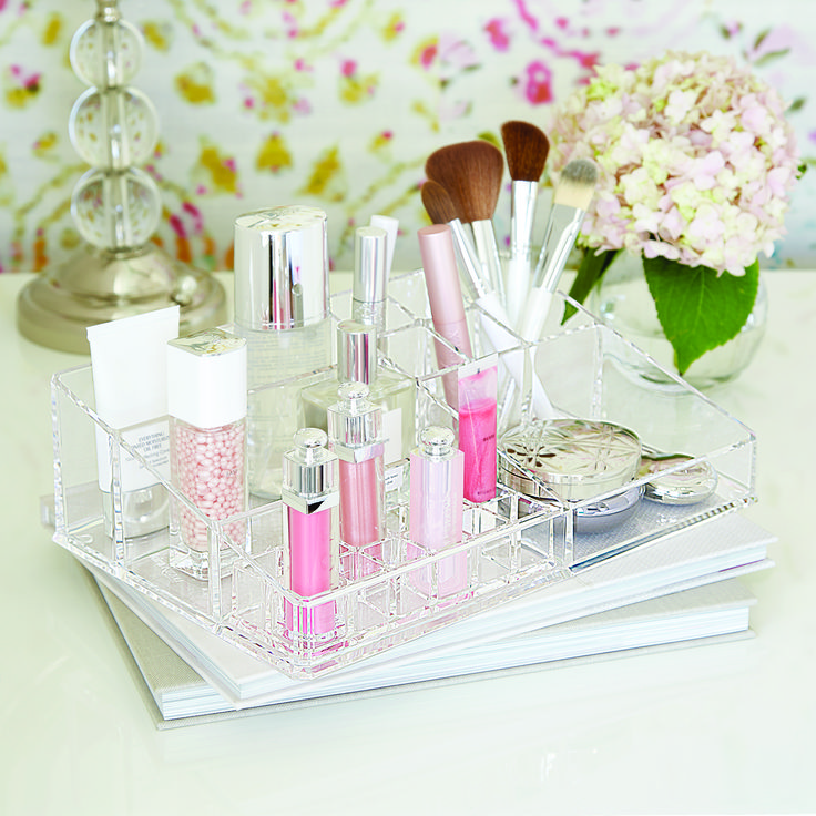 This makeup organizer has plenty of room to store and organize your entire cosmetic collection.  It's crafted from exceptionally clear and durable acrylic to blend into any décor.  The lipstick organizer is removable for easy clean-up.
