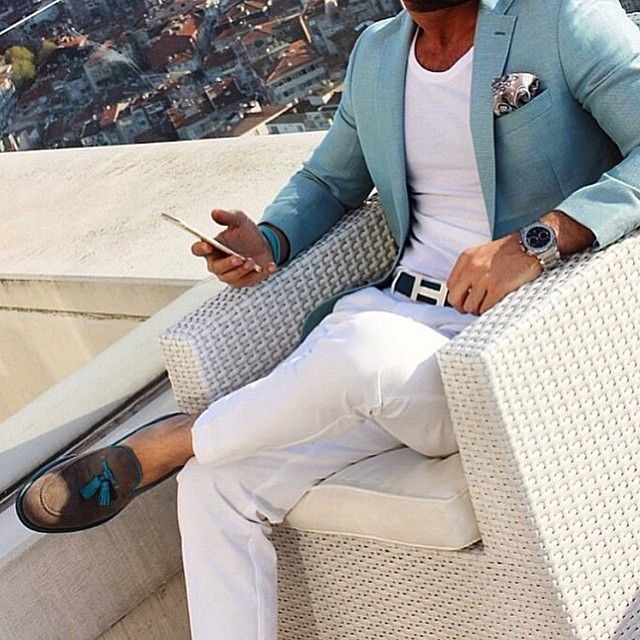 Men's Fashion | Menswear | White Pants/Trouser, White T-Shirt, Aqua Sport Coat | Men's Outfit for Spring/Summer | Smart Casual | Moda Masculina | Shop at http://designerclothingfans.com