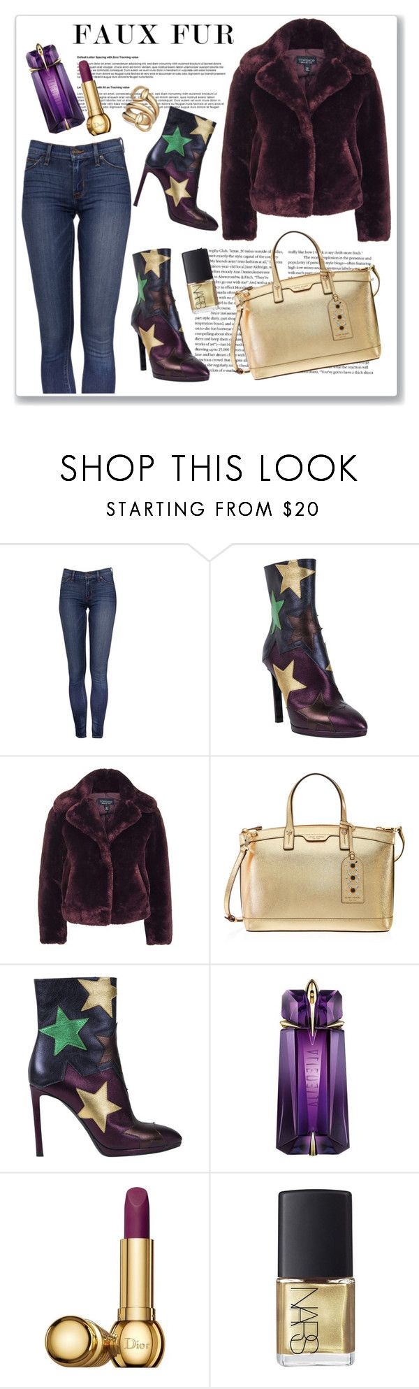 """""""Faux fur coat"""" by ruza-b-s ❤ liked on Polyvore featuring Roberto Cavalli, Topshop, Henri Bendel, Thierry Mugler, Christian Dior, NARS Cosmetics, Gucci and fauxfurcoats"""