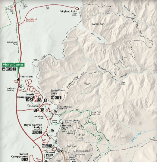 Bryce Canyon Map // Explore Utah National Parks in this 10-day road trip itinerary w/ the best hikes, activities & camping in Zion, Bryce, Capitol Reef, Arches & Canyonlands.