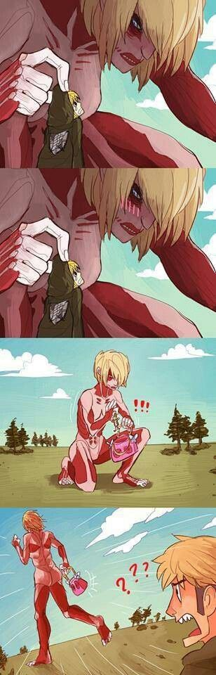 She kidnapped Armin!   What we all know Annie really wanted to do.   Attack on Titan   Shingeki no Kyojin   Attack on Titan   Fan Art