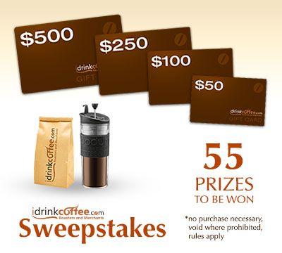 iDrinkCoffee.com 5th Year Anniversary Sweepstakes