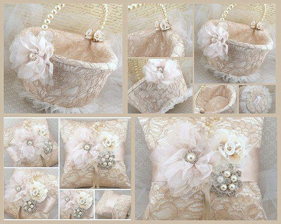 Flower Girl Basket  Bridal Basket in Lace in Champagne ♥ by SolBijou, $125.00