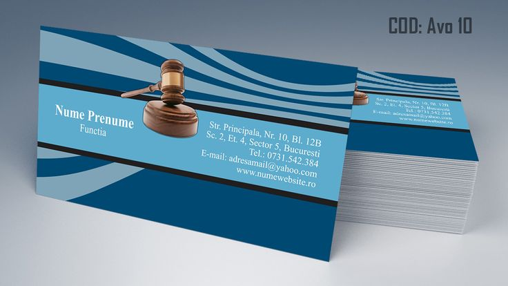 Carti de vizita avocat cod AVO 10 - modele online gratis, printate color fata sau fata-verso. Tiparim carti de vizita atat pentru cabinet de avocat cat si pentru cabinet notarial, juristi sau avocati stagiari. Lawyer, law, attorney business cards templates
