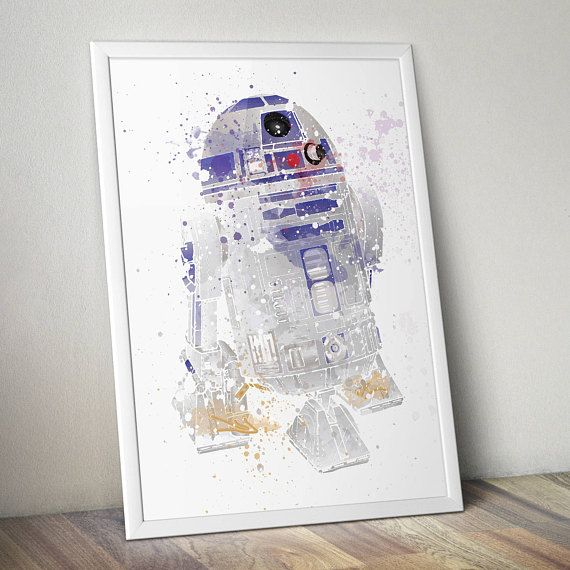 Star Wars Poster Print - R2-D2| Watercolour Painting | Digital Download | Wall Art | Video Game Art | Star Wars Droid | Kids Room Art