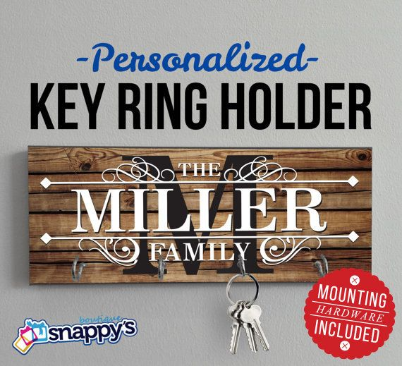 Personalized Key Holder Wall Key Rack by SnappysBoutique on Etsy