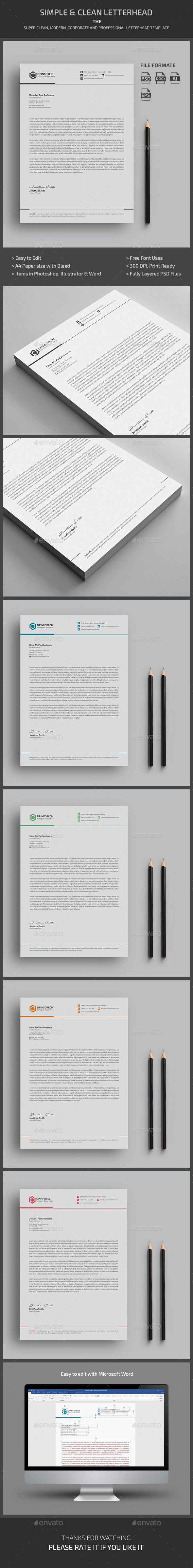 Letterhead This Letterhead is simple and clean, easy to be edited and designed to make such a good impression. Minimalistic approach will highlight the appropriate data in your Letterhead.All elements icons and logo are included as png files as Vector icons set in one Illustrator file.