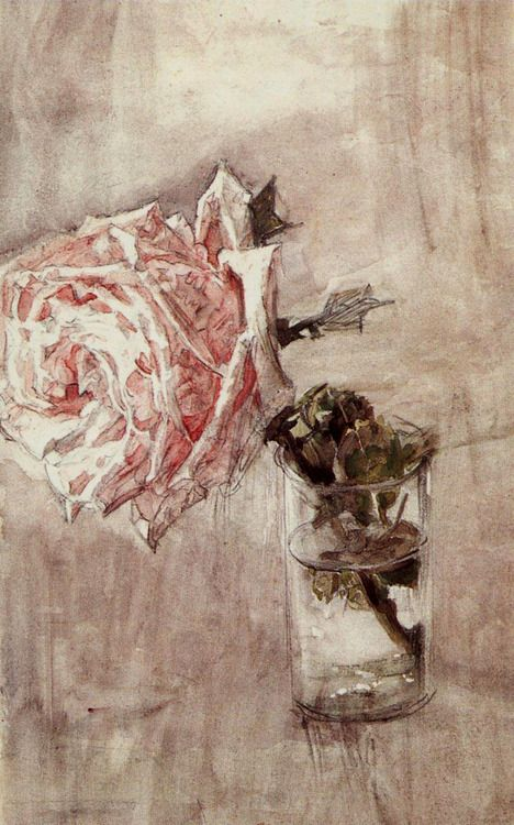 Mikhail Vrubel (Russian, 1856-1910), Rose in a glass, 1889. Watercolour on paper on cardboard.