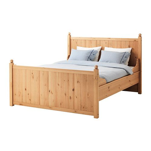 IKEA - HURDAL, Bed frame, King,  , , The solid pine shows off the attractive grains and beauty mark knots that give each unique piece its own…