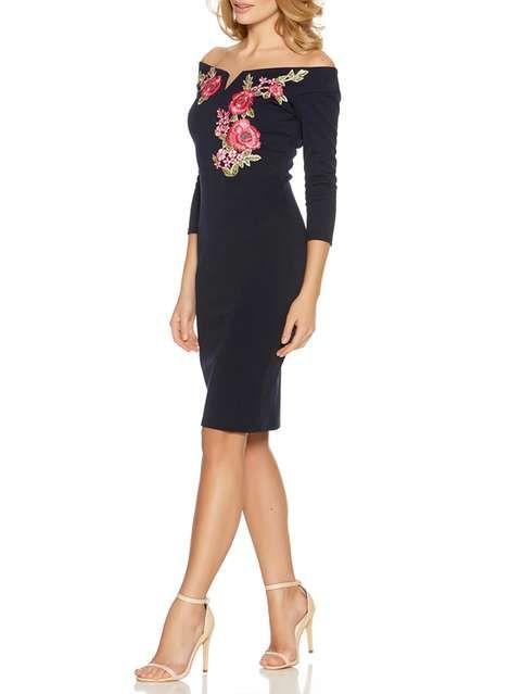 *Quiz Navy Embroidered Bardot Midi Dress - Robes - Vêtements - Dorothy Perkins France