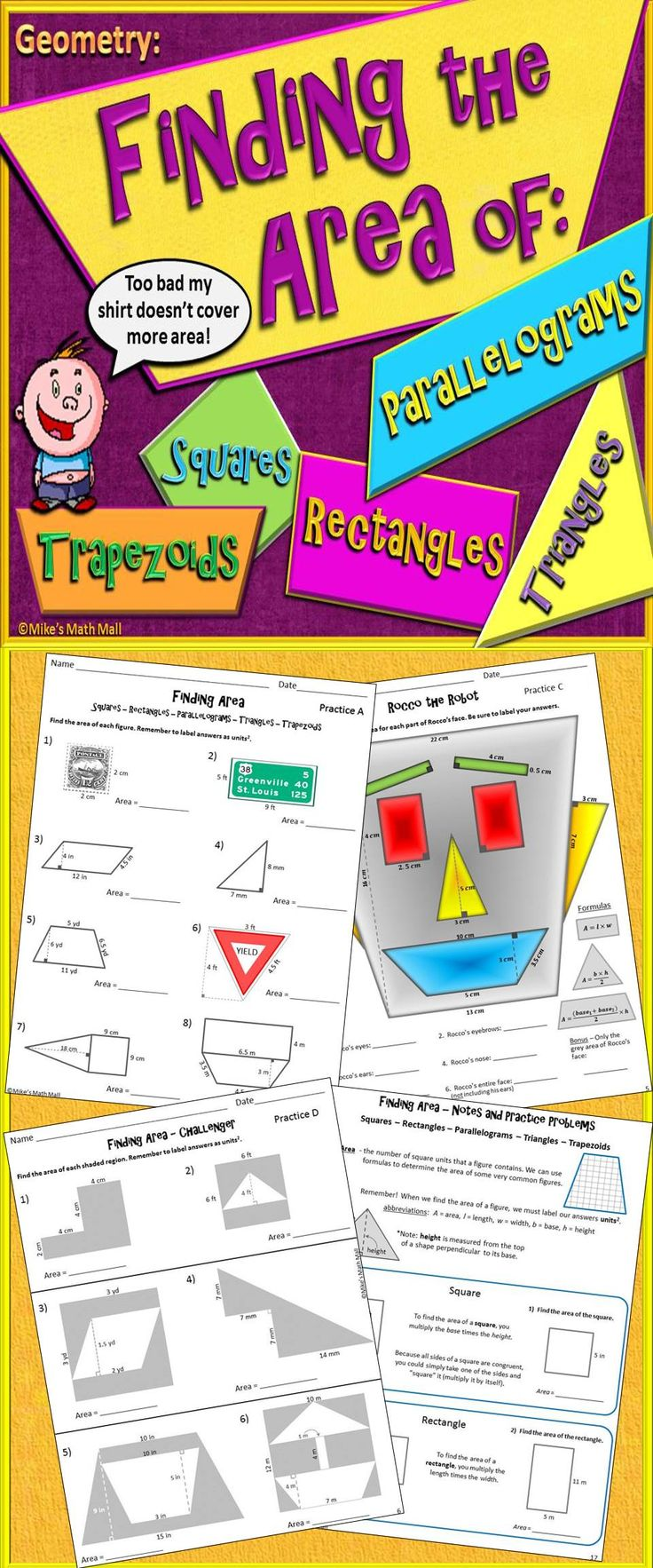 Area Of Parallelograms, Triangles, And Trapezoids (mini Bundle)