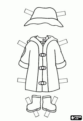 hat raincoat and rubber boots to dress up caillou a rainy day coloring page