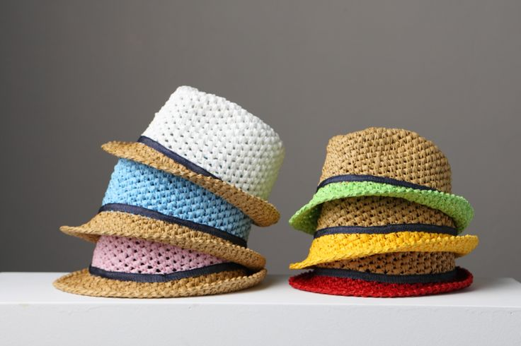 Raffia crochet Kid's Fedora Hats