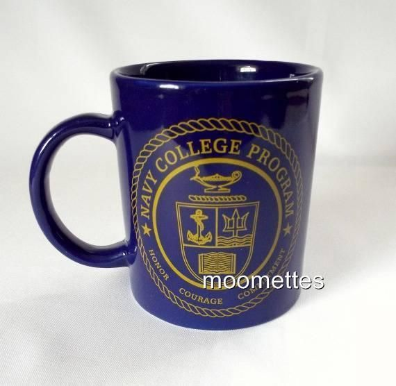 Navy College Program Coffee Mug Military Honor Courage Seal Logo Blue Gold Cup #NavyCollegeProgram