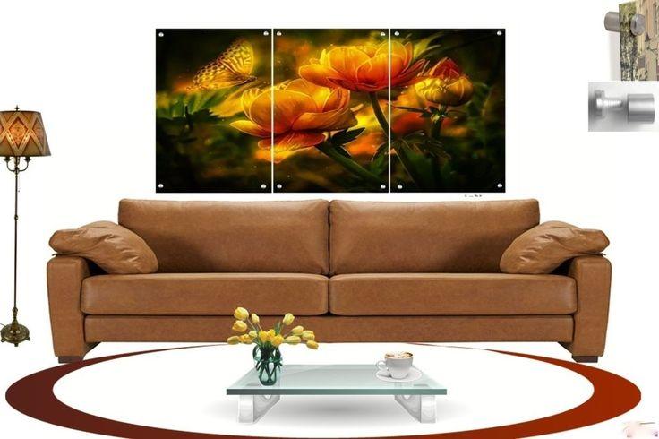 Wall Art in Floating Acrylic Glass Plexiglass Modern Art Butterfly Decor 3 Panel #Modern