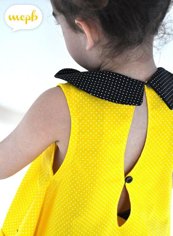 ALULA jaune qui pique, col claudine, Grains de Couture pour Enfants, Ivanne SOUFFLET, by MCPB