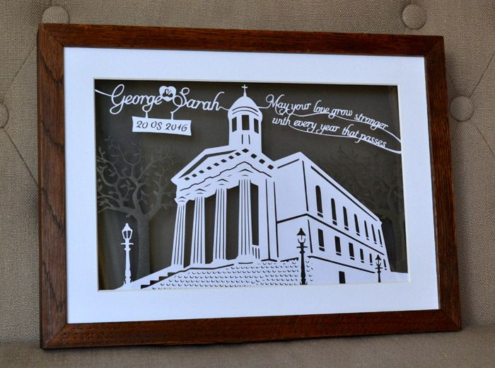 Wedding day personalised papercutting of St Georges Bristol by Paper Petal
