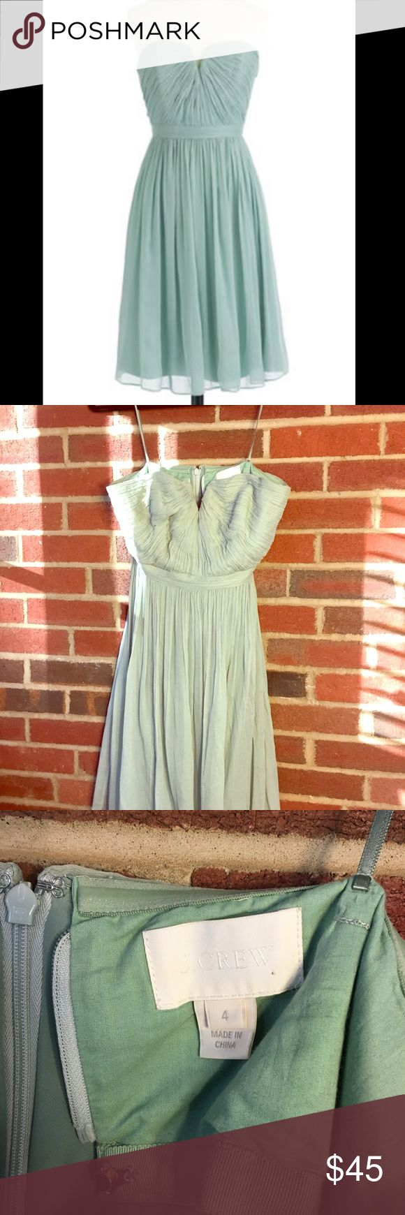 J.Crew Nadia bridesmaid dress in dusty shale J. crew Nadia bridesmaid dress in Dusty Shale size 4. Interior has an attached corset for added support. Worn once, excellent condition. J. Crew Dresses Strapless