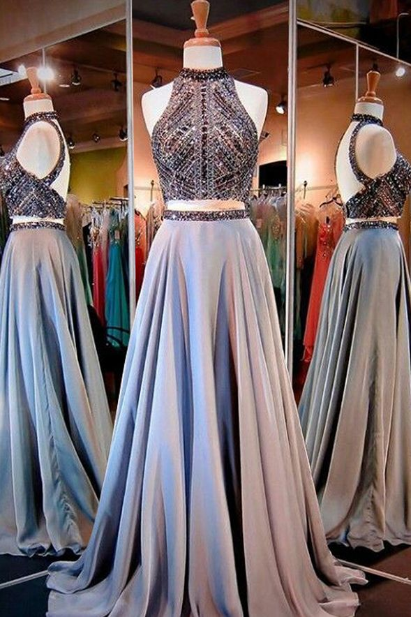 Prom Dresses,High Neck Open Back Prom Dress,Long Prom Dress with Beading,Two Piece Prom Gowns,SIM624