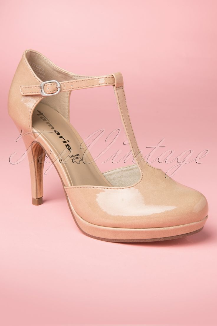 Tamaris - 40s Vintage Nude Lacquer T-Strap pumps. Soooo cute.