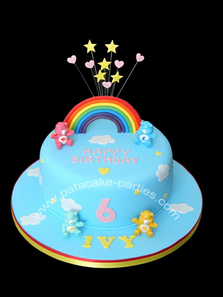 Care Bears Cake - Simple little cake with Care Bear figures provided by the customer.  This cake makes me smile!