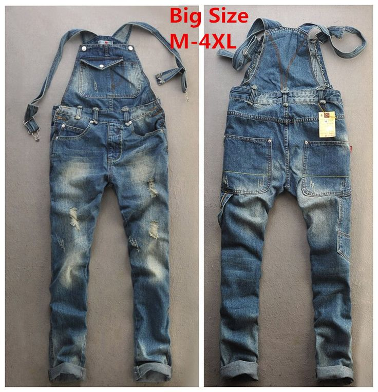 2015 Summer Fashion Casual Mens Cool Ripped Hole Blue Denim Overalls Male Jeans Jumpsuits Suspenders Trousers Playsuits For Man