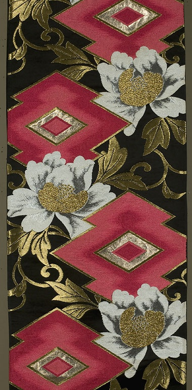 "Japanese Fukuro Obi  !2""x 160½""  Decorated section:  12""x 102""  Black silk satin brocaded with rose and red silks, along with gold and silver-gray metallics."
