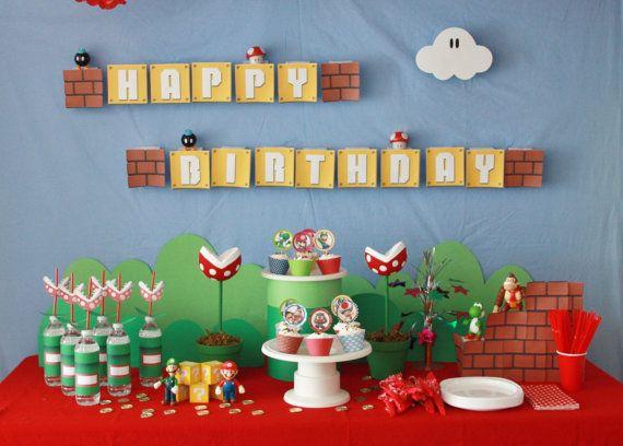 Super Mario Bros. Party  Birthday  Super Mario por JocelynsParties