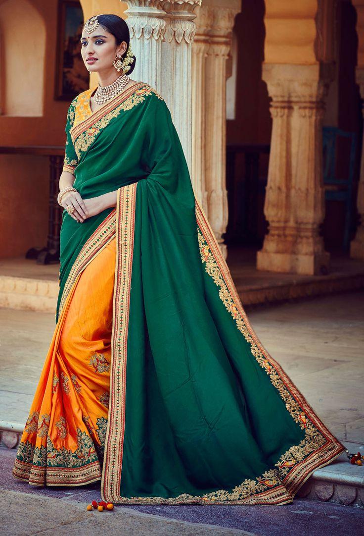 Designer Green And Orange Tussar Silkhalf N Half Saree #green #Trendy #onlinesari #sari #saree #WomenClothing #WomenWear #Designersari #stylishsari #nikvik #usa #designer #australia #canada #malaysia #UAE #freeshipping  Sign up and get USD100 worth vouchers.Price-US$113.23