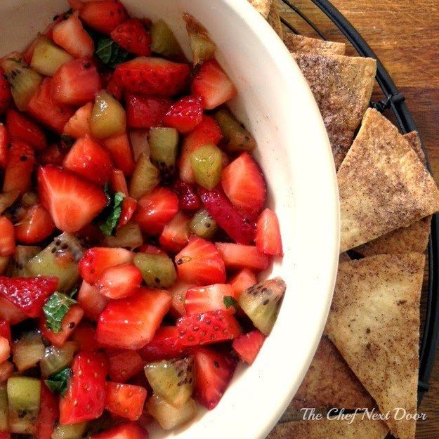 Fruit Salsa with Cinnamon Chips | Community Post: 19 Insanely Genius Kids' Snacks To Start The Summer Off Right