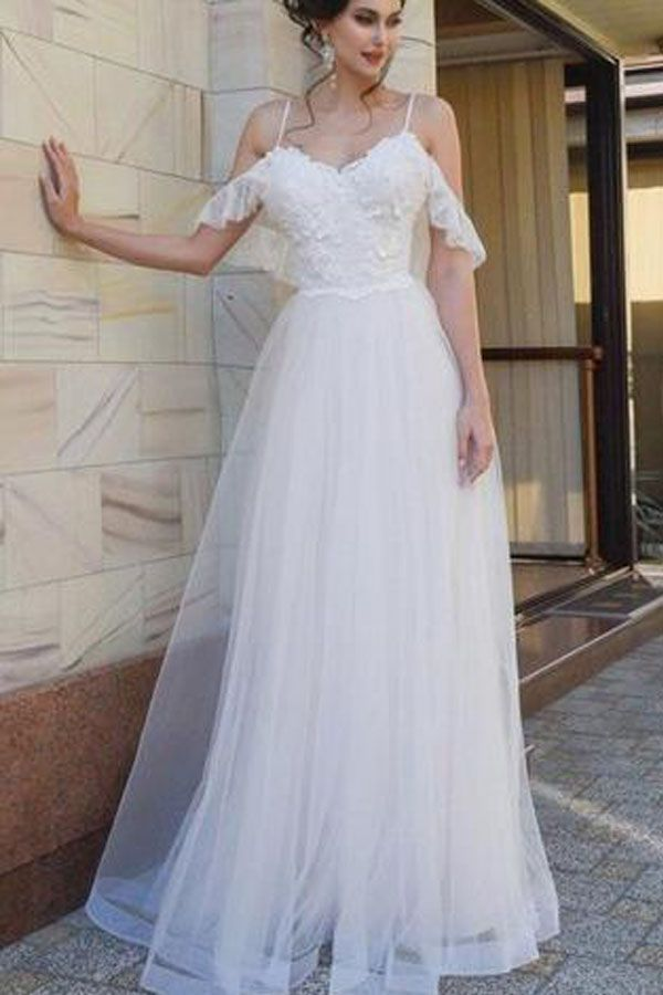 Spaghetti Straps Lace Dropped Sleeves Tulle A Line Beach Wedding