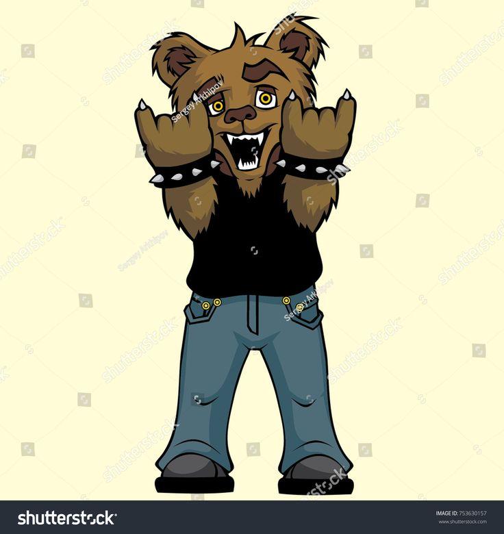 Rocker bear. Vector illustration.