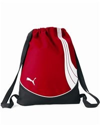 """PUMA - Teamsport Formation Gym Sack - PM21  View Size Specification  Catalog Page: 0        400-denier dobby polyester with 600-denier TPE material blocking      Top cinch closure      Wide nylon straps      Structural piping      Raised rubberized sonic weld PUMA® cat logo on front      Size: 18"""" x 14 1/2"""""""