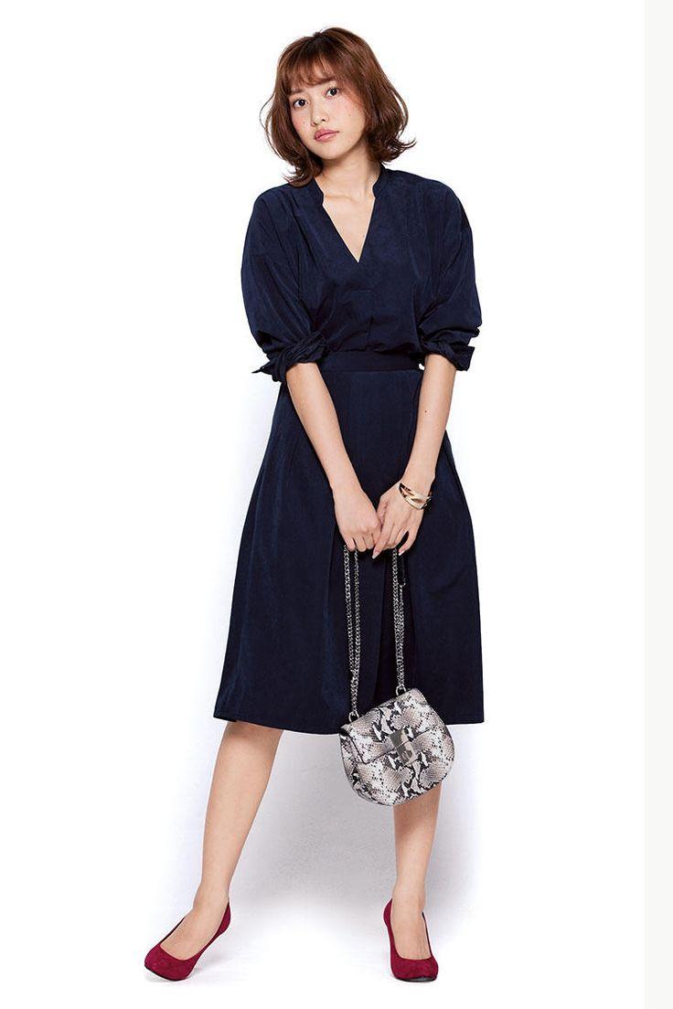 with 2016年11月号 佐野ひなこ シンプルなセットアップは差し色で女っぷりをあげて