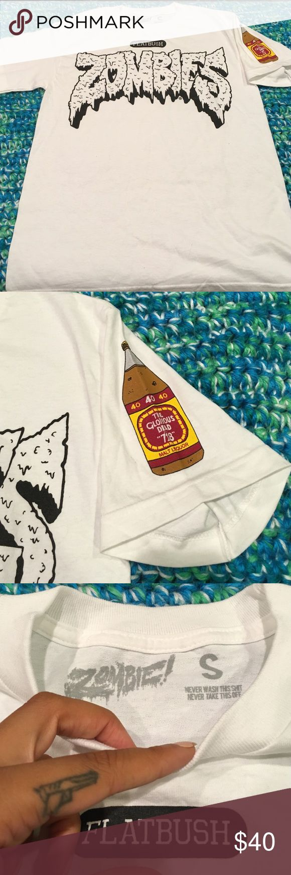 """Flatbush Zombies T-shirt White Flatbush Zombies limited edition t-shirt with 40oz """"The glorious dead """"718"""" bottle on sleeve Flatbush zombies Tops Tees - Short Sleeve"""