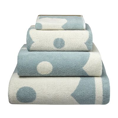 Orla Kiely Flower Abacus Duck Egg towels are a stylish, deep piled range with Jacquard weave. This range will add a touch of luxury to any bathroom. Available in facecloth, hand towel and bath towel.  100% Cotton.