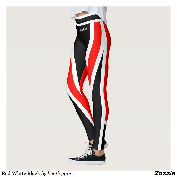 Red White Black Leggings : Beautiful #Yoga Pants - #Exercise Leggings and #Running Tights - Health and Training Inspiration - Clothing for #Fitspiration and #Fitspo - Strong Female and Female Empowerment Apparel - #Fitness and Gym Inspo - #Motivational Colorful Workout Clothes by Talented Graphic Designers