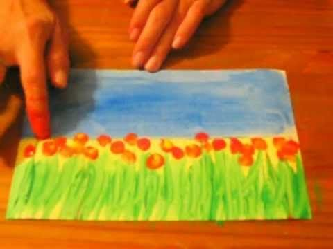 Field of Flowers: A Preschool/Early Elementary Painting Lesson - YouTube